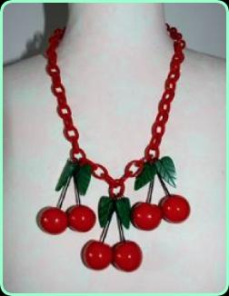 Art Deco Red Cherry Celluloid necklace on a chunky red chain
