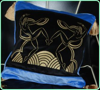 Art deco dancing girls cushion in blue and black velvet with tassels