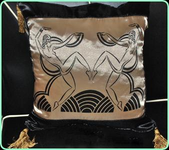 Art deco satin cushion, dancing girls  in gold and black satin with tassel trim
