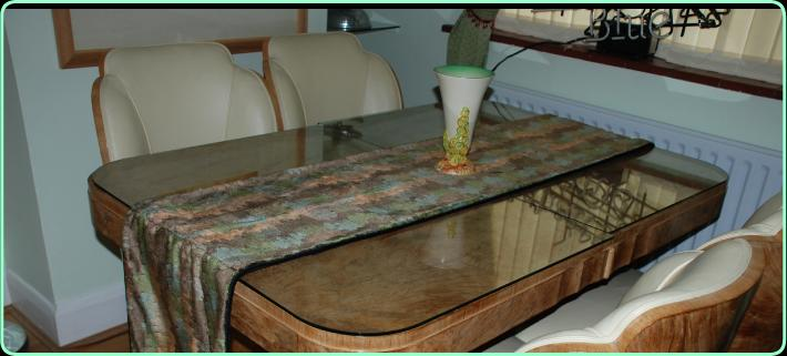 Art Deco Fabric,  New/Old Original Fabric, Peach/Green/Brown  table runner