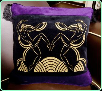 Art deco cushion, purple and black velvet with tassels