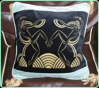 Art deco dancing girls cushion in peppermint green and black with tassels